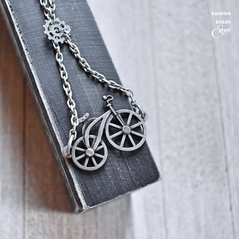 Silver Bicycle Necklace  Antique Silver Necklace  image 0