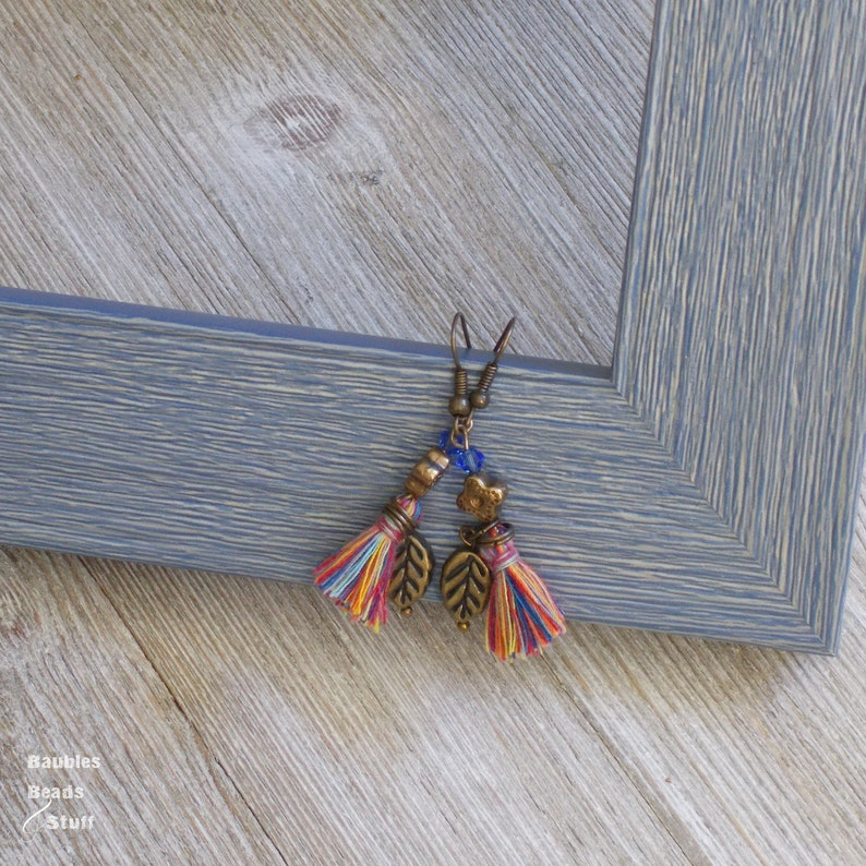Multi Color Tassel Earrings  Leaf Charm  Blue Crystal Dangle image 0