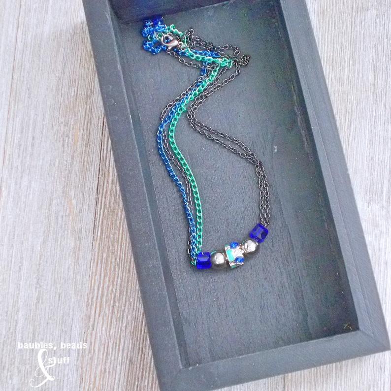 Blue 5-Bead Necklace  Multi-Strand Design  Bead Necklace image 0