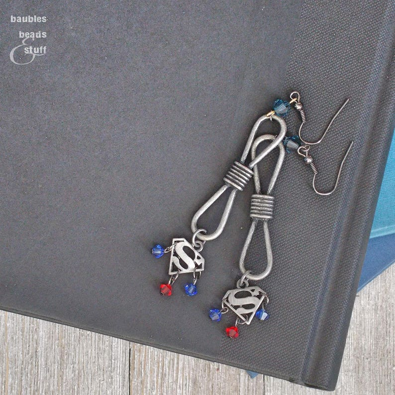 Silver Superman Infinity Earrings  Super Hero Jewelry  image 0