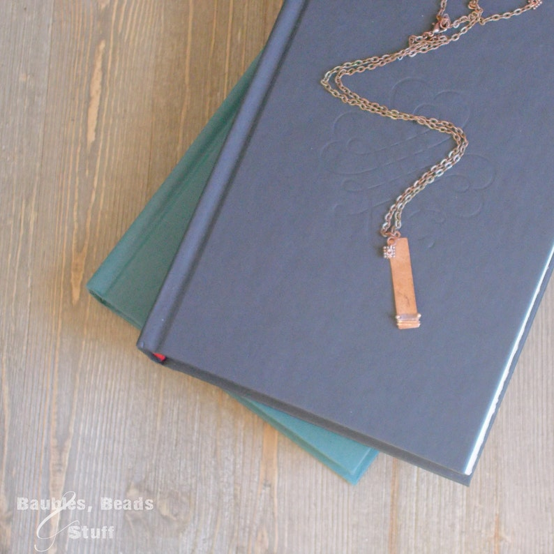 Copper Tag Necklace  Wire-Wrapped with Square Bead image 0