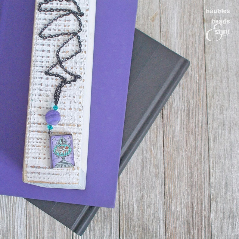 Jane Eyre Purple Book Necklace  Book Inspired Jewelry  Mixed image 0