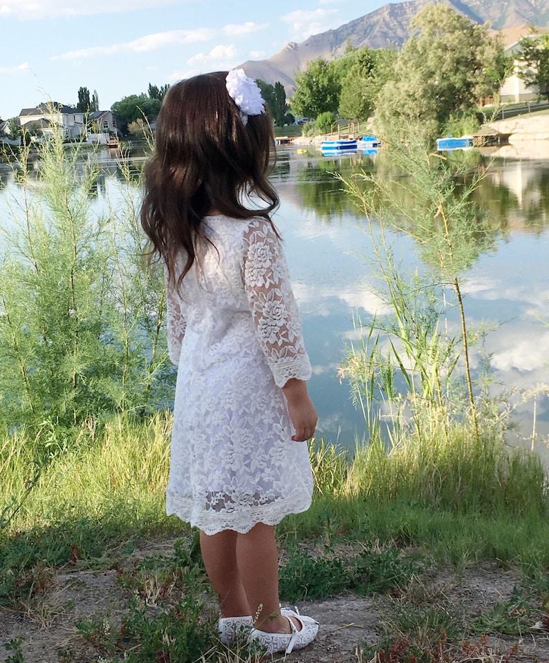 589219ee9 Rustic flower girl dress white lace dress vintage flower girl | Etsy