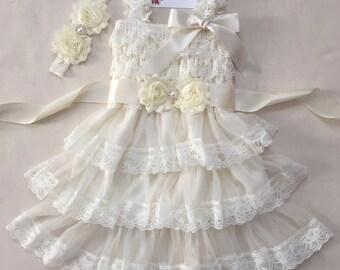 Rustic flower girl dress Ivory flower girl lace dress Country flower girl dress Baby girl lace dress First birthday dress Ivory baby dress