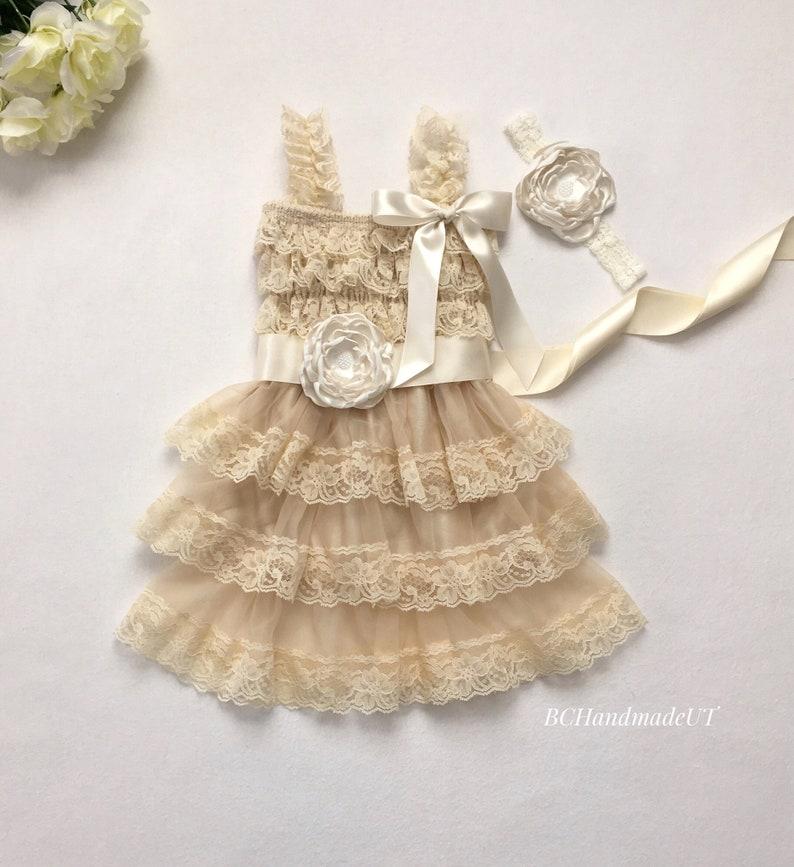 d3e1f5e1d7de5 Rustic flower girl dress champagne ivory lace dress country | Etsy