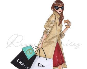 Fashion Illustration, fashion wall art, fashion poster, fashion sketch, Dior girl, Chanel girl, fashion art, fashion print, shopping art