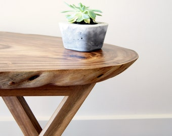 Live Edge Slab Side Table made from Rain Tree
