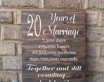 20 Years of Marriage Hand Painted Wood Sign, 20th Anniversary Gift, Anniversary Gift, 20th Wedding Anniversary Sign, Gift for Parents