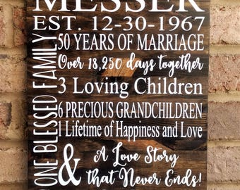 50 Years of Marriage Hand Painted Wood Sign, 50th Anniversary Gift, Anniversary Gift, 50th Wedding Anniversary Sign, Gift for Parents