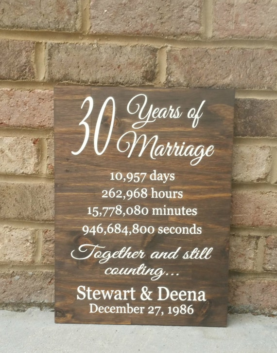 Wedding Anniversary Gifts 30 Years: 30 Years Of Marriage Hand Painted Wood Sign 30th Anniversary