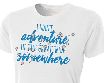 I Want Adventure in the Great Wide Somewhere - Beauty and the Beast T-Shirt - Dandelion Belle T-Shirt - White Women's Fitted T-Shirt