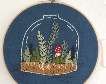 "7"" Hoop Art Embroidered  ""Terrarium"""