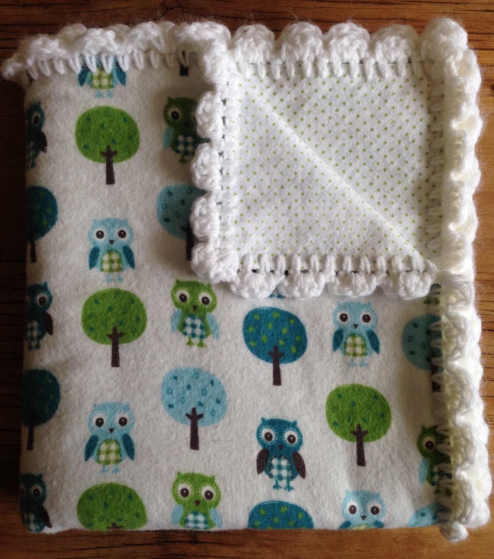 Baby Boy Receiving Blanket With Hand Crochet Edge