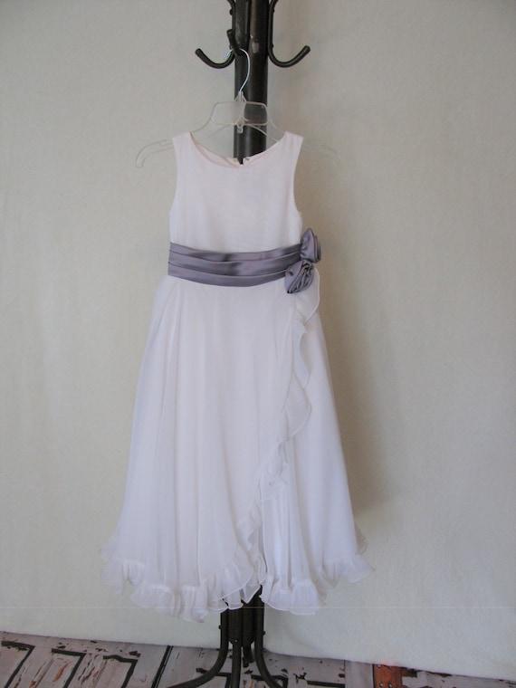 White Flower Girl Dress with Ribbon Roses, White F
