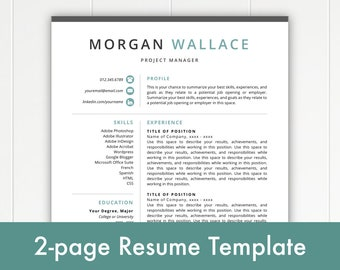 2-Page Resume Template, Modern Resume, Resume Template Instant Download, Resumes, Cover Letter + References, Mac + PC