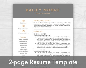 2-Page Resume Template, Modern Resume, Cover Letter + References, Resume Template Instant Download, Resumes, Mac + PC