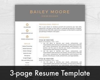 3-Page Resume Template, Modern Resume, Cover Letter + References, Resume Template Instant Download, Resumes, Mac + PC