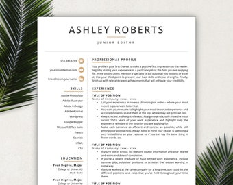 Resume Template Modern Resumes Free Cover Letter References Included Mac PC Compatible