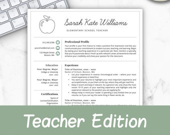 Teacher Resume Template For Word Pages CV Elementary Instant Download