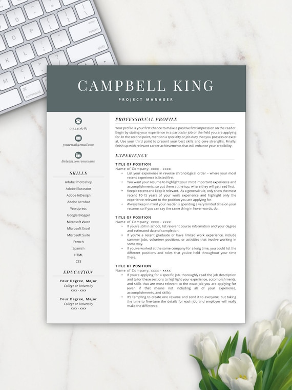 Professional Resume, Resume Template, Resumes, Free Resume Template, Cover  Letter + References Included, Mac + PC Compatible