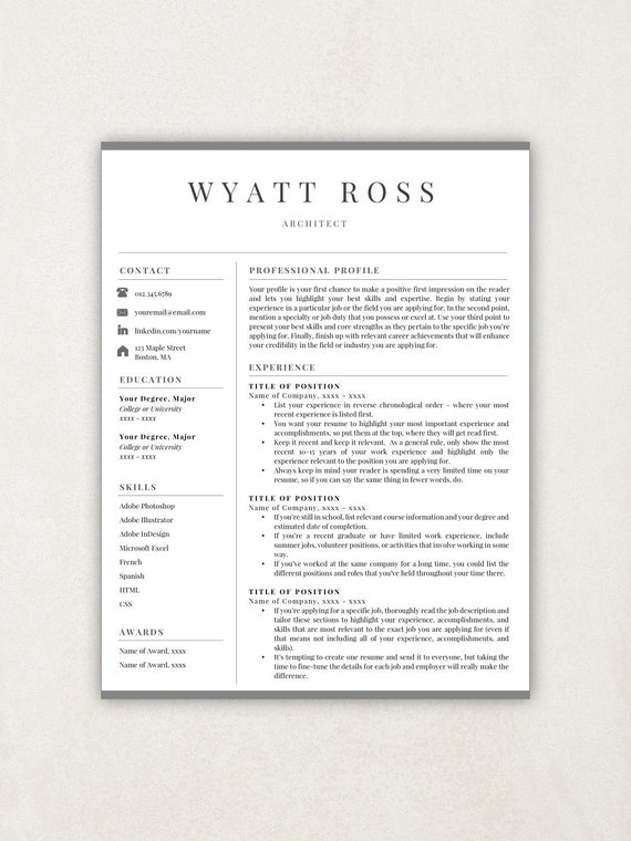 Professional Resume Template Resume Template Instant Download Free Resume Template Cover Letter References Included Editable Resume