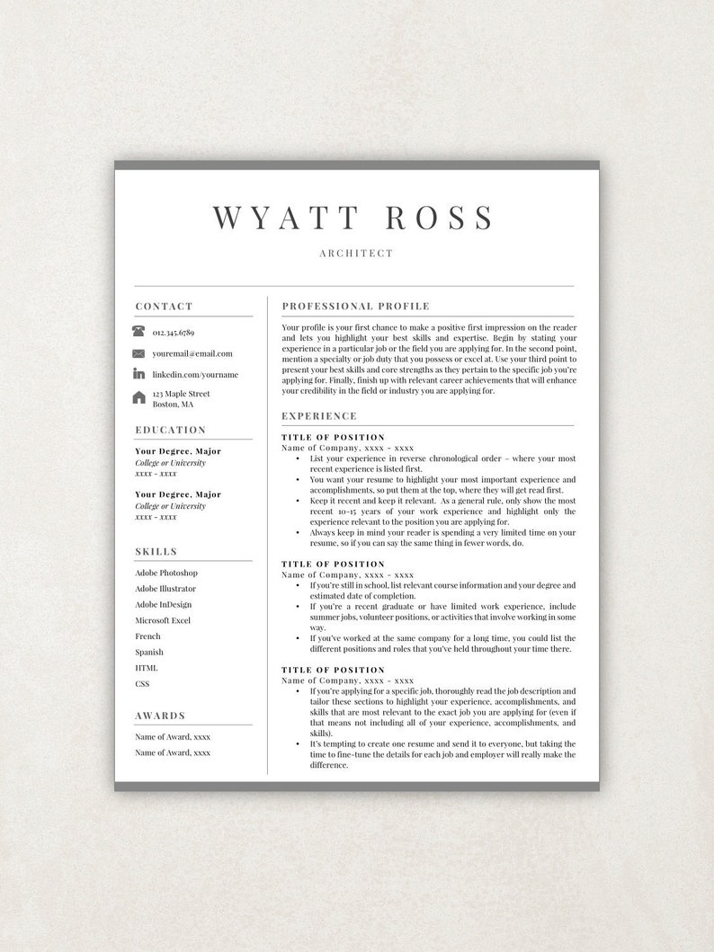 Professional Resume Template Instant Download Free Cover Letter References Included Editable