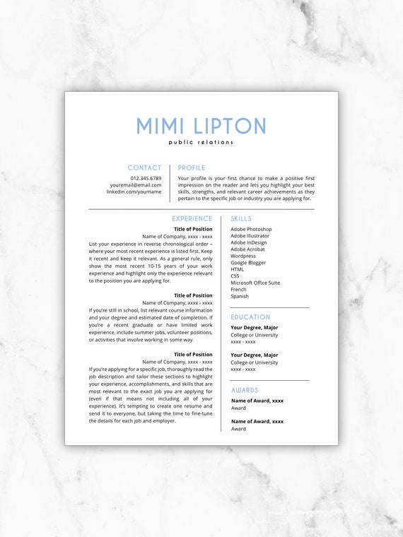 Resume Template Instant Download Cv Template Resume Etsy