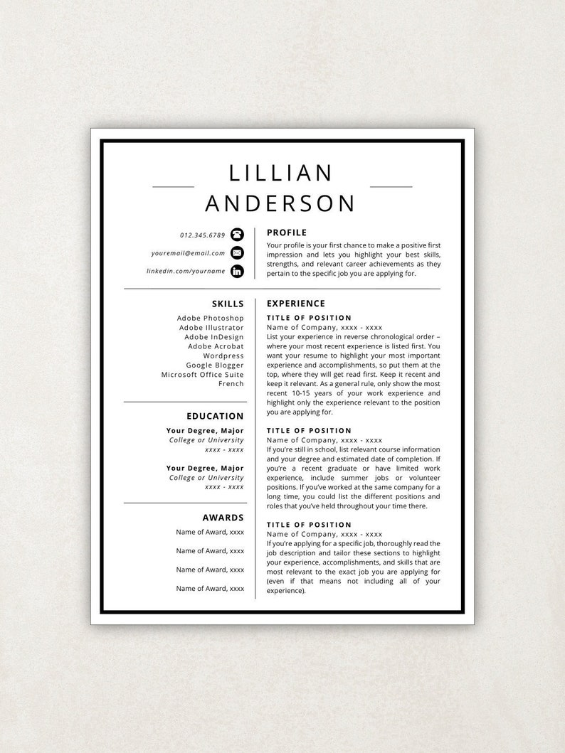 Resume Icons Design Template Word