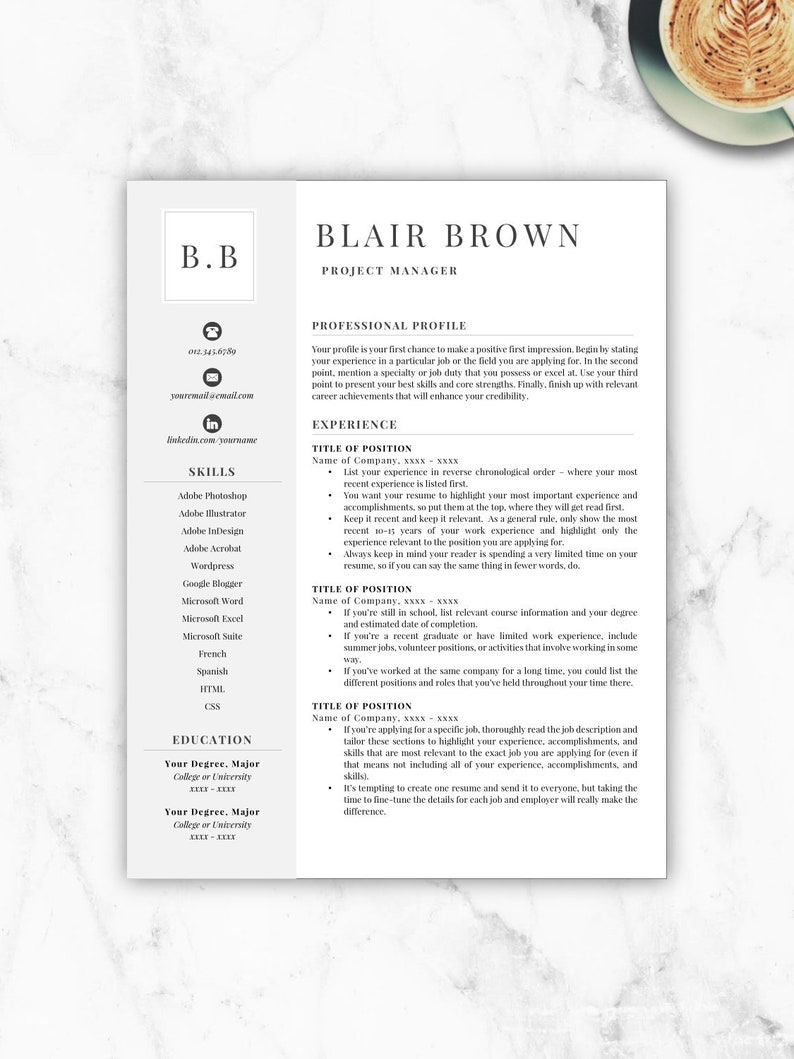 Professional Resume Template, Free Resume Template, Resume Template Instant  Download, Resumes, Cover Letter + References Included, Mac + PC