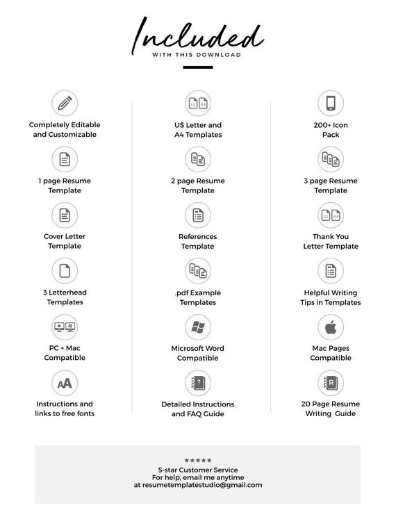 Resume Icons, Resume Design, Resume Template Word, Resume Cover Letter,  Resume Template Modern, Creative Resume, Free Resume Template