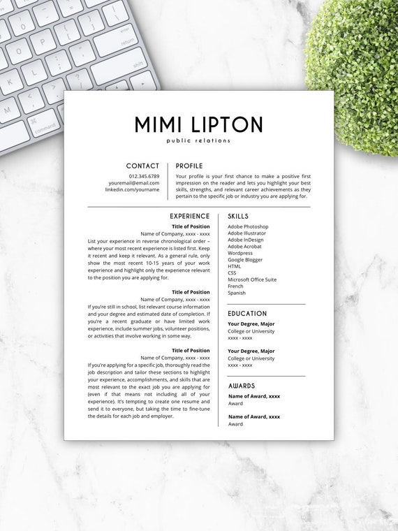 Resume Template | CV Template | Resume Template Word | Resume Design | Free  Cover Letter + References | Instant Download