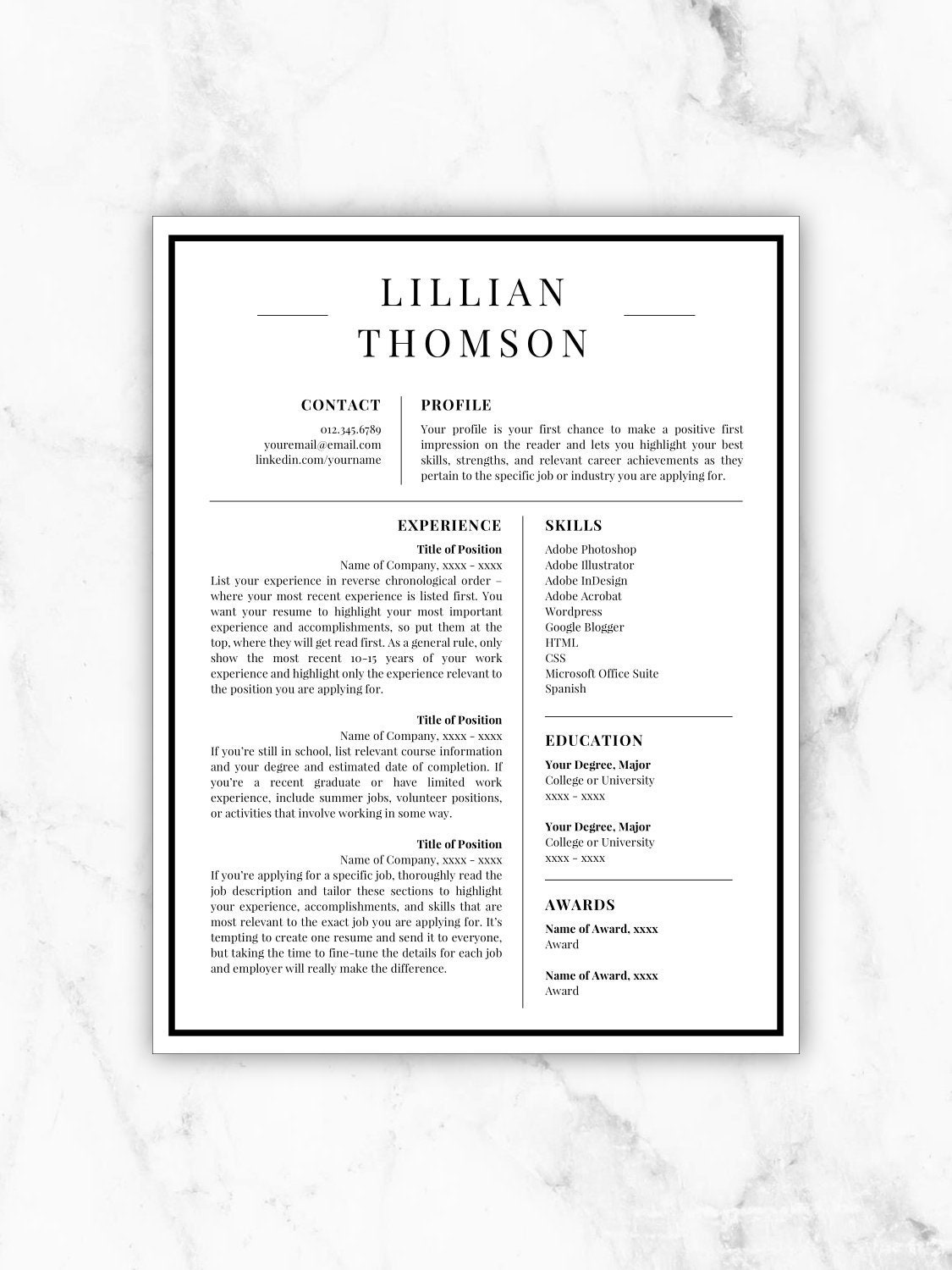 professional resume template for word  u0026 pages cv template