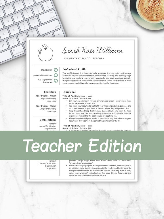 Teacher Resume Template for Word & Pages, Teacher Template, Teacher CV,  Resume for Teacher, Elementary Template, Teacher Instant Download