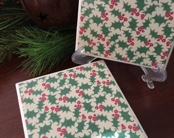 Christmas Coasters, Holiday Coasters, Holly Coasters, Hostess Gift, Set of Four Coasters, Holiday Entertaining