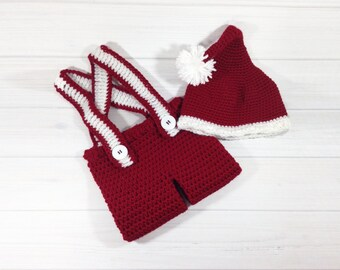 My first christmas outfit - Baby santa hat - Crochet baby props - Crochet  pants - Newborn boy christmas outfit - Baby christmas hat bf007013c65