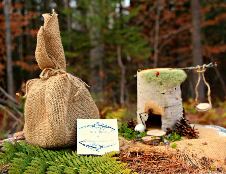 NATURAL DIY Fairy House Kit with Swing Maine Made Birch Bark , Handmade,  Wooden, Waldorf Inspired, Educational Creation