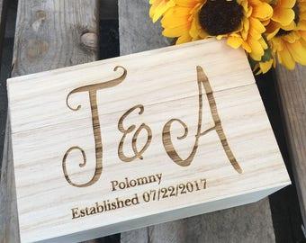 Engraved Recipe box, Monogram Recipe Box,Wood Recipe Box,Shower Gift, Birthday Gift,Christmas Gift, Housewarming Gift, Anniversary Gift,
