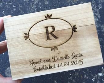 Engraved Recipe box, Monogram Recipe Box,Wood Recipe Box,Shower Gift, Birthday Gift,Christmas Gift, Housewarming Gift, Anniversary Gift