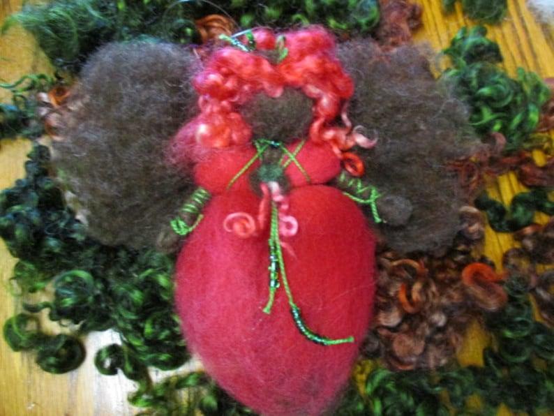 Wool One of a Kind Waldorf Inspired Christmas Fairy Needle Felted Teeswater Locks