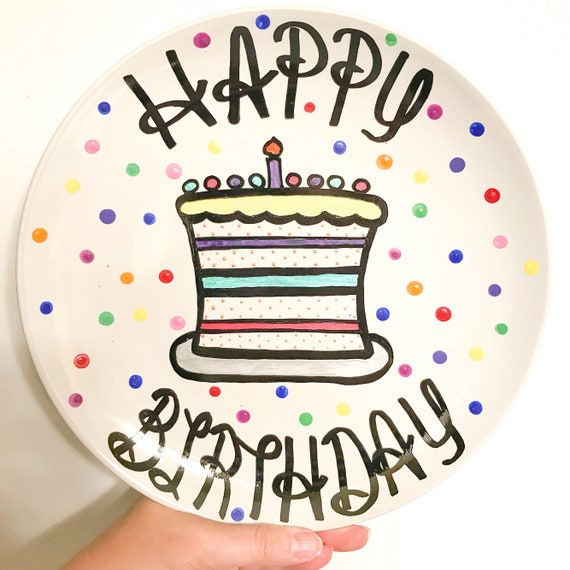 Personalized Happy Birthday Plate Hand Painted