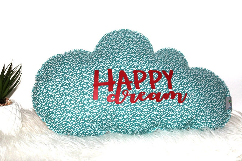 Cushion cloud red & blue Happy Dream  kids room / image 0