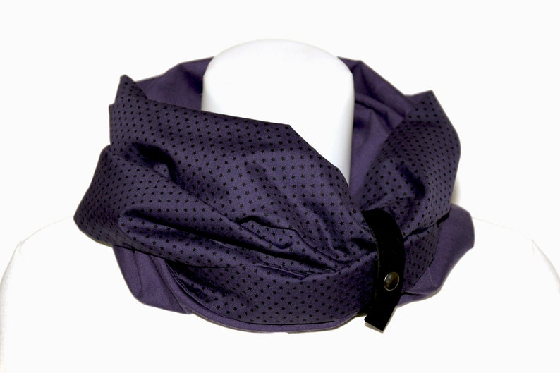 Snood woman small stars color plum / Tube scarf or round neck image 0