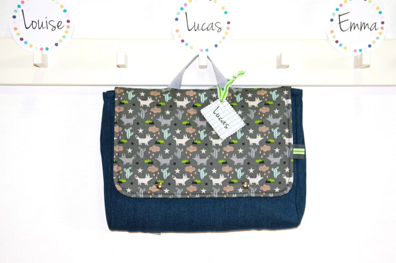 Nursery Binder Boy 100% Cotton / Backpack Bag With Breath Able image 0