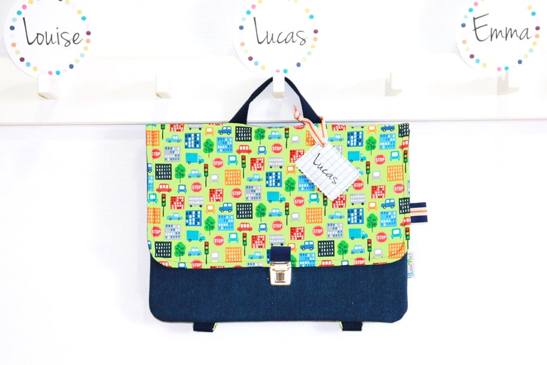 Boy Kindergarten Bag / Customizable Cartable Backpack  Fabric image 0