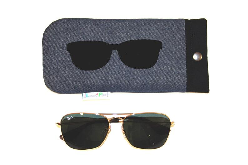 Women's Glasses Case / Fabric Jeans and Uni Noir  Case image 0
