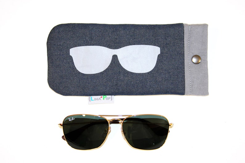 Women's Glasses Case / Fabric Jeans and Uni Grey  Case image 0