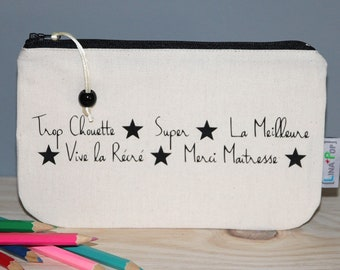 """Personalized teacher gift - Pencil case """"Thanks teacher"""" - beige pouch and black markings - fine gift of the year"""