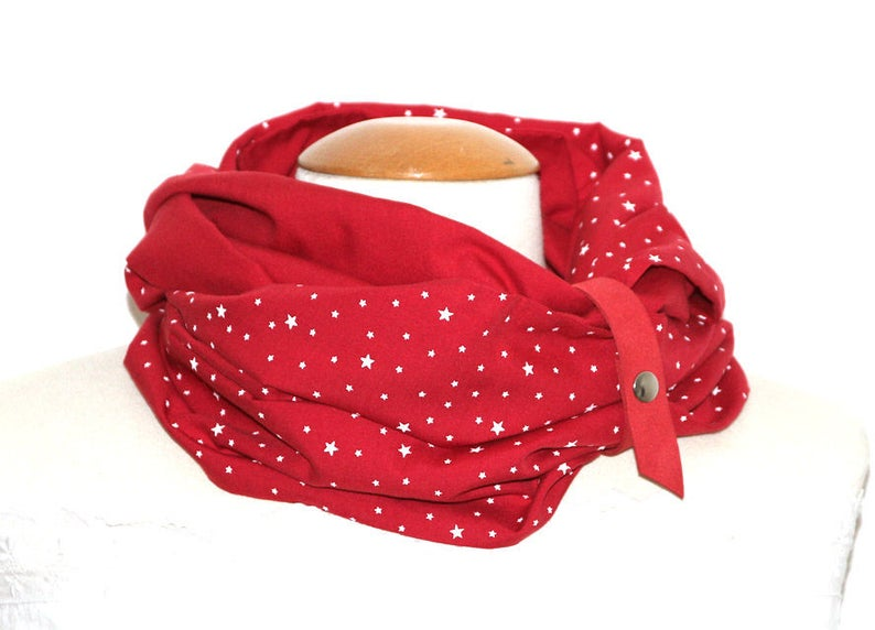 Snood Woman / Tube Scarf / Neck Tower  Red Suede Attachment  image 0