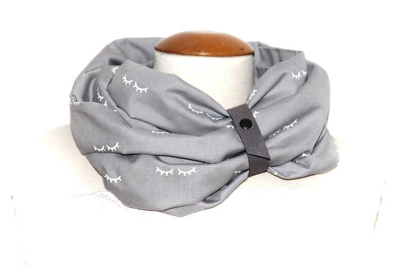 Snood scarf Tube gray Eyelash / round neck for women  gray image 0