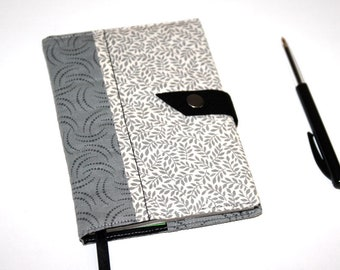 Notebook / small notebook - protects fabric grey pattern bow / leaves - block Zap recycled Book paper - mother's day gift